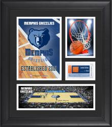 """Memphis Grizzlies Team Logo Framed 15"""" x 17"""" Collage with Team-Used Baseketball"""