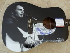 Merle Haggard Signed Autographed Acoustic Guitar PSA Certified W/ Graphics