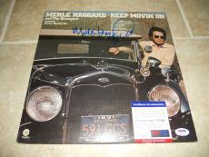 Merle Haggard & Strangers Signed Keep Movin On LP Record PSA Certified
