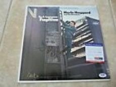 Merle Haggard & Strangers Signed Lonesome Fugative LP Record PSA Certified