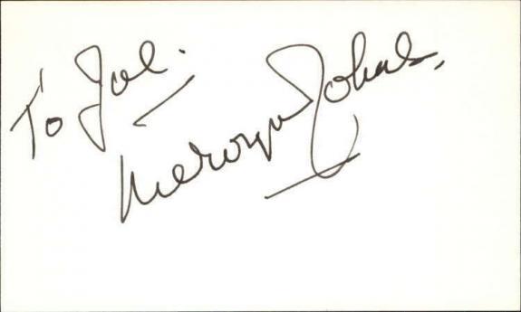 "Mervyn Johns D.1992 Actor A Christmas Carol Signed 3"" x 5"" Index Card"