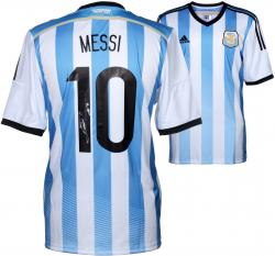 Lionel Messi Autographed Jersey - Blue & White Back Mounted Memories