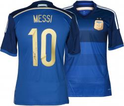Lionel Messi Autographed Jersey - Dark Blue Back Mounted Memories