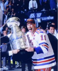 Mark Messier New York Rangers 1994 Stanley Cup Champions Autographed 16'' x 20'' Vertical Celebration Photograph - Mounted Memories