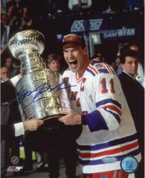 "Mark Messier New York Rangers Autographed 8"" x 10"" Vertical Cup on Side Photograph"