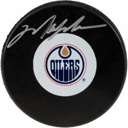 Mark Messier Edmonton Oilers Autographed Logo Puck