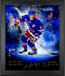 Framed Mark Messier New York Rangers Autographed In Focus Photo - 20x24 Limited Edition