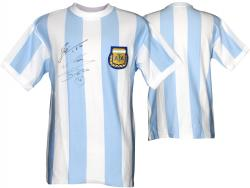 Lionel Messi & Diego Maradona Argentina Dual Autographed Blue Front Jersey