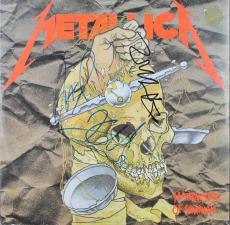 Metallica (3) Hetfield, Hammett, Newsted Signed Album Cover W/ Vinyl JSA #Y79139