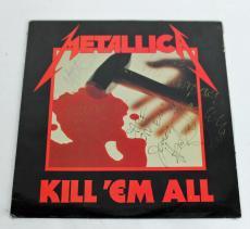 Metallica (4) Hetfield, Burton, Ulrich & Hammett Signed Album Cover BAS #A80980