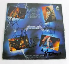 Metallica (4) Hetfield, Burton, Ulrich & Hammett Signed Album Cover W/ Vinyl BAS