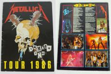 Metallica (4) Hetfield, Burton, Ulrich Signed 1986 Damage Inc Tour Program BAS