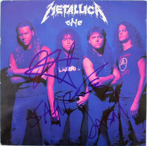 Metallica (4) Hetfield, Ulrich, +2 Signed One 45 RPM Album Cover W/ Vinyl BAS