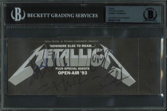 Metallica (4) Hetfield, Ulrich, Hammett & Newsted Signed Ticket BAS Slabbed