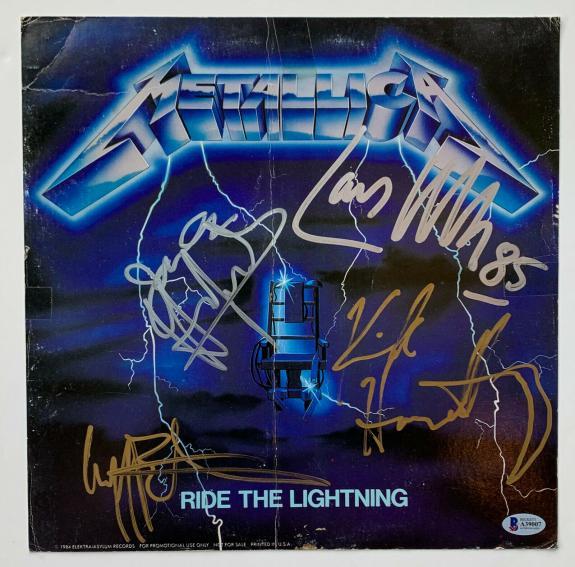 Metallica Autographed Record Album Flat Signed by 4 Cliff Burton BAS Beckett coa