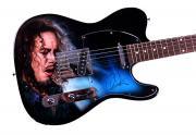 Metallica Kirk Hammett Autographed Airbrushed Guitar AFTAL
