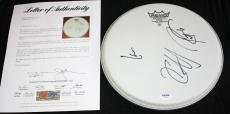 "Metallica signed 10"" drumhead, Lars Ulrich, Kirk Hammett, Robert Trujillo, PSA"