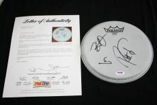 "Metallica signed 8"" drumhead, Lars Ulrich, Kirk Hammett, Robert Trujillo, PSA"