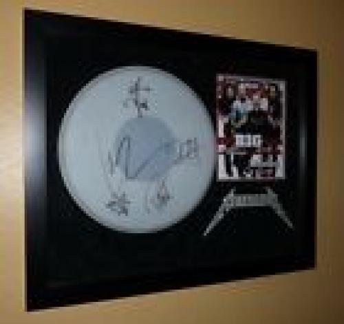 Metallica Signed Autographed Framed Drumhead JSA Certified James Lars Kirk Rob