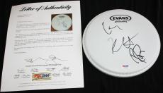 Metallica signed drumhead, Lars Ulrich, Kirk Hammett, Robert Trujillo, PSA/DNA
