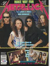 METALLICA Signed Magazine w/PSA LOA (NO Label) Hetfield Ulrich Hammett & Newsted