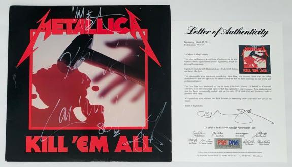 Metallica X4 Cliff Burton James Hetfield Kirk & Lars Signed Kill 'em All Lp Psa