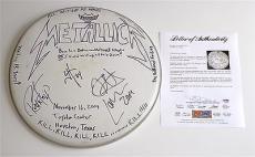 Metallica X4 Hetfield Hammett Ulrich & Trujillo Signed Concert Used Drumhead Psa