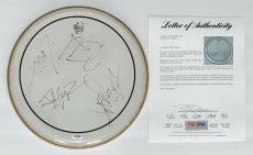 Metallica X4 James Hetfield Kirk Hammett Lars & Jason Signed Drumhead Psa V14186