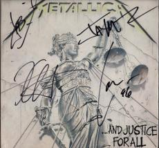 Metallica X4 James Hetfield Kirk Lars & Jason Signed And Justice For All Psa Loa