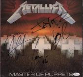 Metallica X4 James Hetfield Kirk Lars & Jason Signed Master Of Puppets Jsa Loa