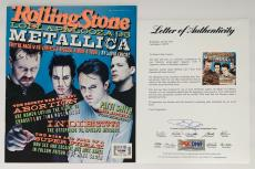 Metallica X4 James Hetfield Kirk Lars & Jason Signed Rolling Stone Psa U04972