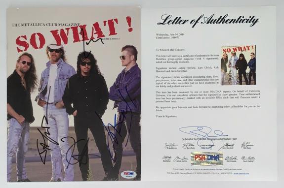 Metallica X4 James Hetfield Kirk Lars & Jason Signed So What! Vol 1/issue 1 Psa