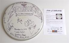 Metallica X4 James Hetfield Kirk Lars & Robert Signed Concert Used Drumhead Psa