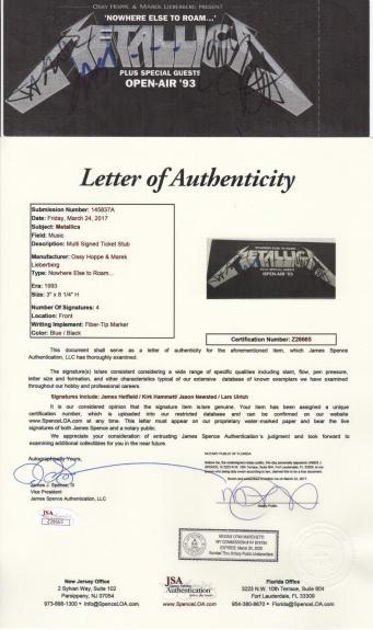 Metallica X4 James Lars Kirk & Jason Signed 1993 Nowhere Else To Roam Ticket Jsa
