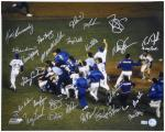 "New York Mets 1986 Autographed 16"" x 20"" Team Signed Celebration On Mound Photograph"