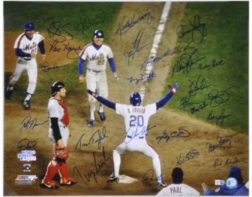 """1986 New York Mets - Johnson At Home Plate - Autographed 16"""" x 20"""" Team Signed Photograph"""