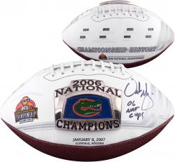 Urban Meyer Florida Gators Autographed Logo Football with 06 Champs Inscription
