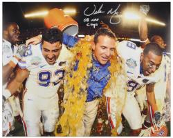 "Urban Meyer Florida Gators Autographed 16"" x 20"" Gatorade Photograph with ""08 Nat Champs"" Inscription - Mounted Memories"