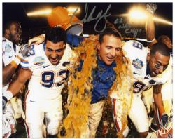 "Urban Meyer Florida Gators Autographed 8"" x 10"" Gatorade Photograph with  ""08 Nat Champs"" Inscription - Mounted Memories"