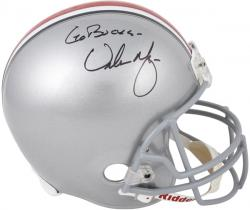 "Urban Meyer Ohio State Buckeyes Autographed Riddell Replica Helmet with ""Go Bucks"" Inscription"