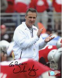 Urban Meyer Ohio State Buckeyes Autographed 8'' x 10'' Clapping Photograph with 'Go Bucks' Inscription - Mounted Memories
