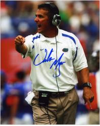 "Urban Meyer Florida Gators Autographed 8"" x 10"" Wearing Headset Photograph - Mounted Memories"