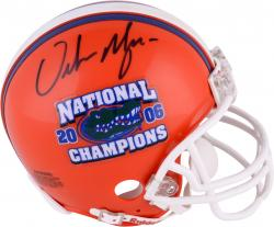 Urban Meyer Florida Gators Autographed Riddell Mini Helmet with Nat'l Champs Inscription