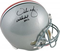Urban Meyer Ohio State Buckeyes Autographed Riddell Replica Helmet with '2012 Undefeated' Inscription - Mounted Memories