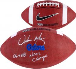 Urban Meyer Florida Gators Autographed On field Football with 06, 08 Nat'l Champs Inscription