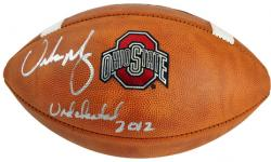 "Urban Meyer Ohio State Buckeyes Autographed Logo Football with ""Undefeated 2012"" Inscription - Mounted Memories  - Mounted Memories"
