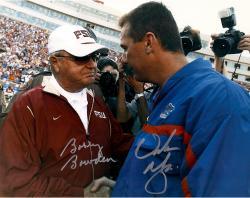 Urban Meyer and Bobby Bowden Autographed Gators Seminoles 11x14 Photo