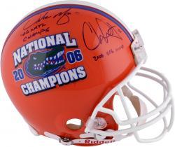 Fanatics Authentic Autographed Chris Leak, Urban Meyer Florida Gators Riddell Pro-Line Helmet with Nat'l Champs Inscription