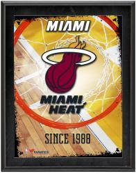 """Miami Heat Team Logo Sublimated 10.5"""" x 13"""" Plaque"""