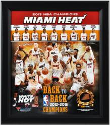 Miami Heat 2013 NBA Champions Framed 15x17 Multi-Photo Collage with Game-Used Basketball - L.E. of 500